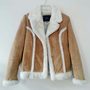 Vintage Suede Faux Shearling Jacket